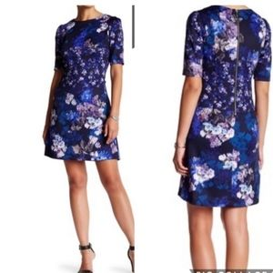 Betsey Johnson Blue Scuba Floral Dress Size 6